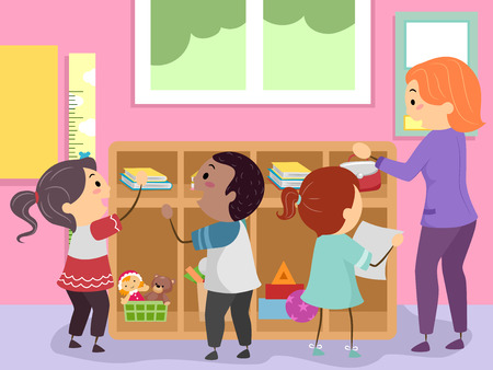 Illustration of Stickman Kids Organizing Student Cubbies in their Classroom