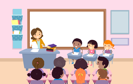 Illustration of Stickman Kids with Teacher Holding a Quiz Bee Contest in Classroom