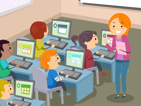 Illustration of Stickman Kids Students with Teacher in Computer Laboratory 免版税图像