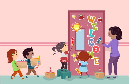 Illustration of Stickman Kids Students and Teacher Decorating Classroom Door