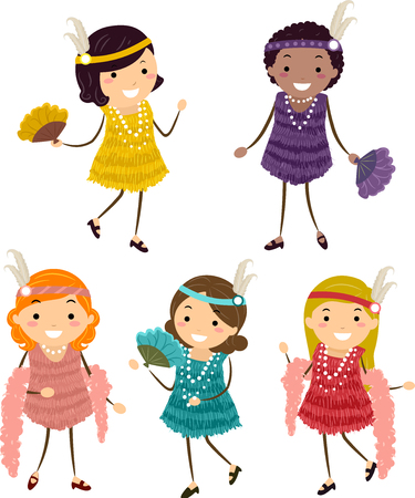 Illustration of Stickman Kids Wearing Flapper Costumes in Yellow, Purple, Red, Peach and Blue Green Colors