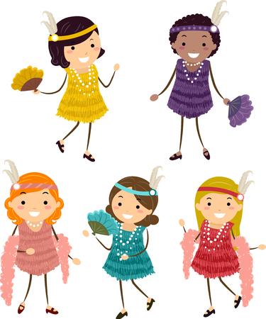 flappers: Ilustración de los niños de Stickman que usan trajes de la aleta en amarillo, púrpura, rojo, melocotón y colores verdes azules Foto de archivo