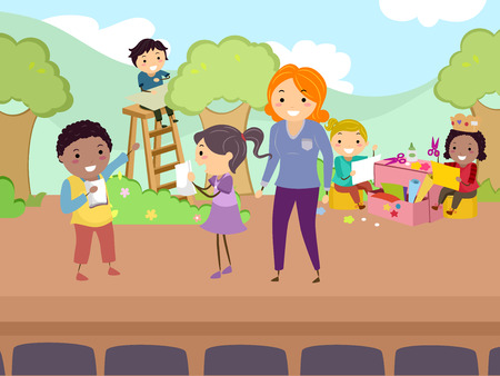 Illustration of Stickman Kids and Teacher on Stage for a Show Rehearsal