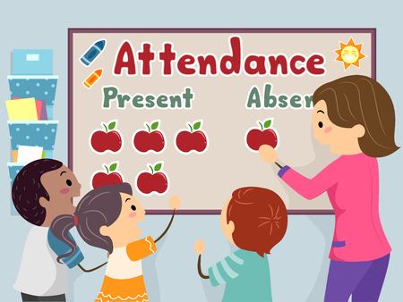 An Illustration of Stickman Kids and Teacher Decorating Attendance Board Imagens