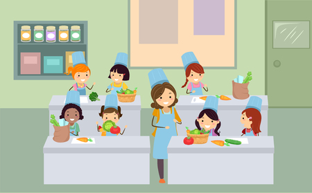 Illustration of Stickman Kids and Teacher in a Cooking Class Learning about Vegetables