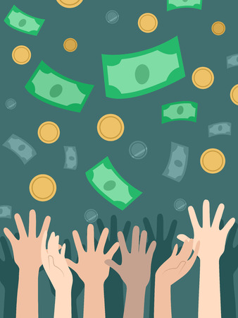 Illustration of Coins and Money Falling Towards Several Hands Waiting to Catch it Stock Photo