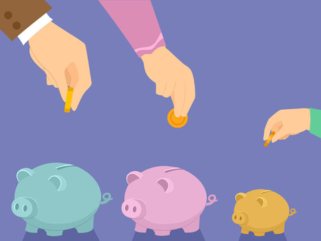 Illustration of Hands of Family Members Saving on Separate Piggy Banks