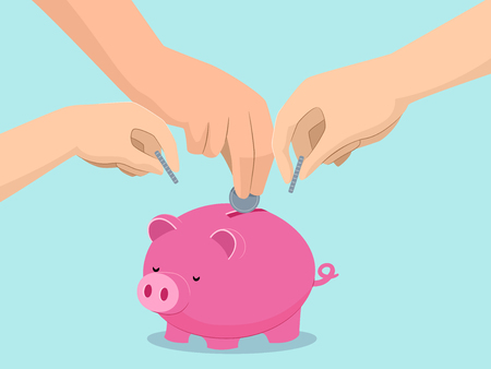 Illustration of Hands of Family Members Saving on One Piggy Bank for the Whole Family Stock Photo