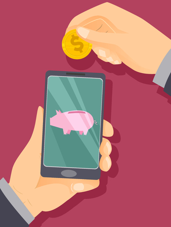 Concept Illustration of a Hand Depositing a Coin to a Piggy Bank App in his Mobile Phone