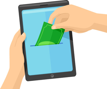 Concept Illustration of a Hand Placing Money on a Coin Slot App in his Mobile Phone or Tablet
