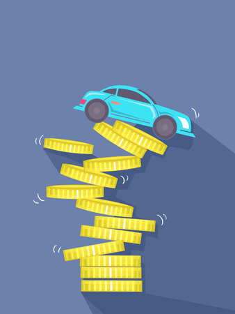 wheel of fortune: Concept Illustration of a Coin Tower Collapsing with a Car on Top of it