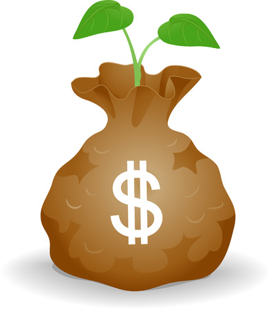 Concept Illustration of a Bag of Money with Seedling. Seed Fund Concept