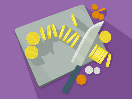 Concept Illustration of Gold, Orange and White Coins on Chopping Board