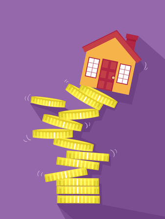 collapse: Concept Illustration of a Coin Stack with House Collapsing. Real Estate Collapsing