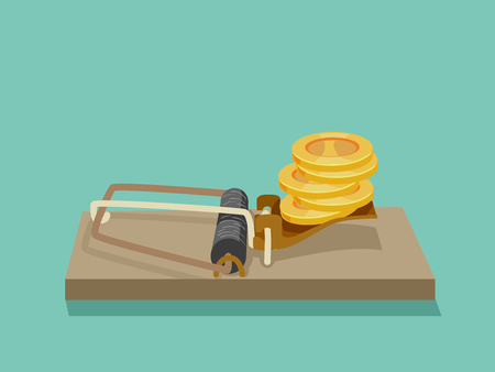 Concept Illustration of Coins Set Up in a Wooden Mouse Trap. Business Fraud