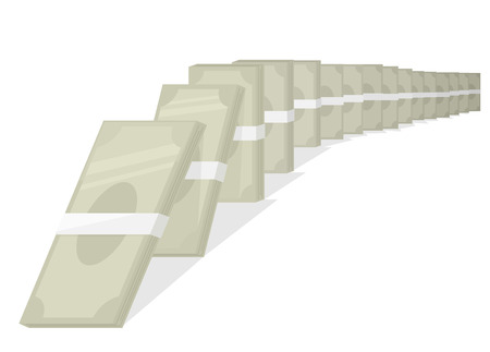 Concept Illustration of Money Falling Down like Domino Pieces as Part of Chain Reaction