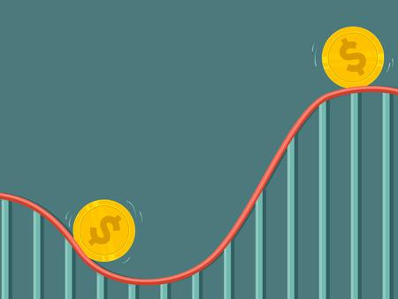 Concept Illustratie van Geld Met Omhoog en Omlaag Cyclus Op Roller Coaster Ride