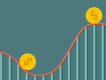 Concept Illustration of Money with Up and Down Cycle on Roller Coaster Ride
