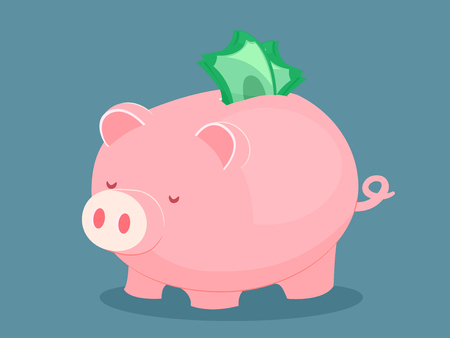 Illustration of a Pink Piggy Bank with Money Stashed in the Slot for Inserting Coins Stock Photo