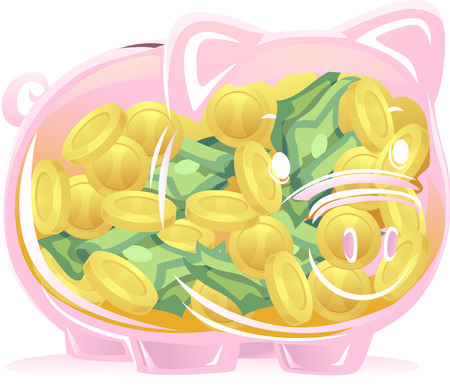 An Illustration of a Pink Transparent Piggy Bank Full of Coins and Bills Stock Photo