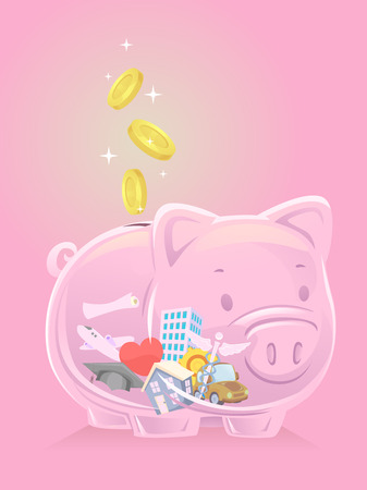 Illustration of a Pink Transparent Piggy Bank with a House, Car, Graduation Cap, Airplane, Medical Symbol and a Heart Stock Photo