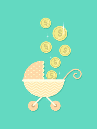 Concept Illustration of Coins Dropping towards a Retro and Laced Baby Stroller Stock Photo