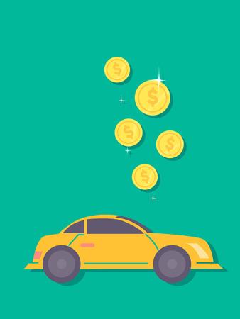 Concept Illustration of Dollar Coins Dropping Towards a Car. Saving for a Car