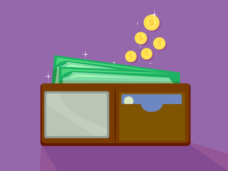 Concept Illustration of Bills and Coins Dropping Towards a Full Wallet Stock Photo