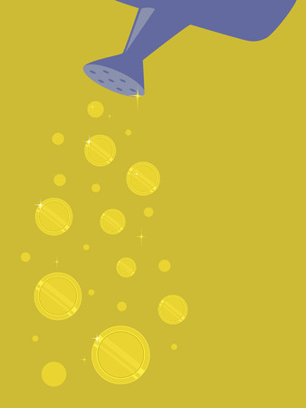 Concept Illustration of Gold Coins Dropping Out of a Watering Can.