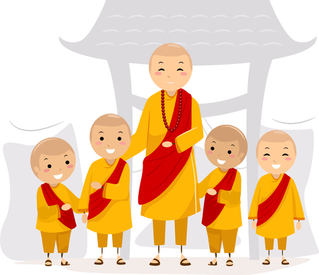 An Illustration of Stickman Kids with an Adult Man wearing Monk Uniforms Stock Photo