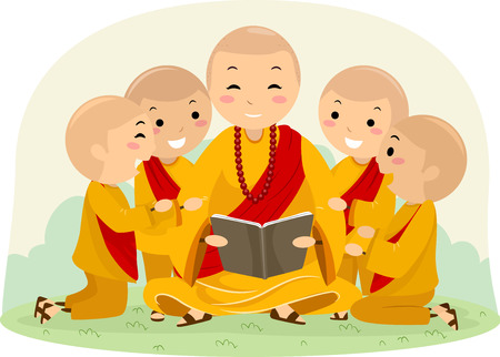 An Illustration of Stickman Kids and a Man Reading a Book Outside, Monks Stock Photo