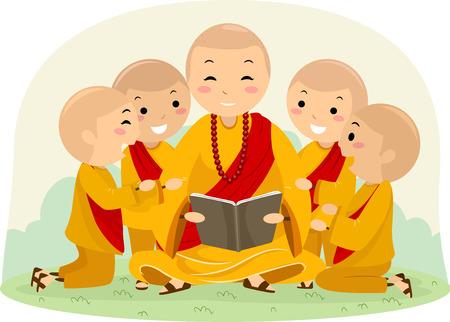 Une illustration de Stickman Kids et un homme qui lisent un livre à l'extérieur, les moines Banque d'images - 82063839