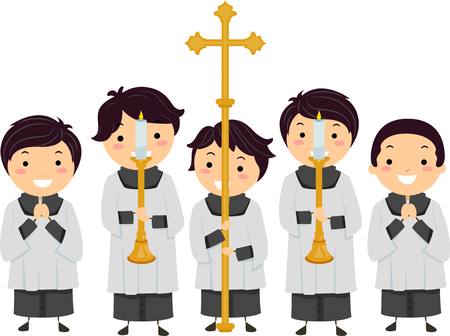 Illustration of Stickman Kids Altar Boys Holding Candles on Candle Holders and a Cross Banco de Imagens