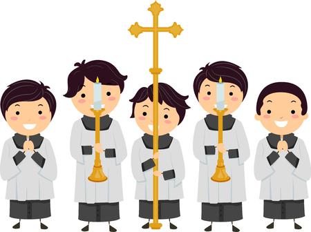 Ilustración de Stickman niños Altar Boys celebración de velas en candelabros y una Cruz Foto de archivo - 82148011