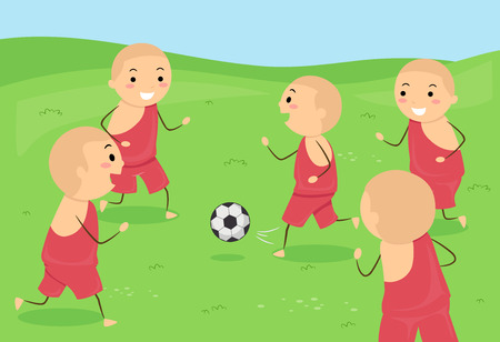 Illustration of Stickman Kid Monks Playing with a Soccer Ball Outdoors