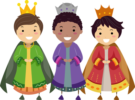 Illustration of Stickman Boys Dressed in Three Kings Costume for a Show