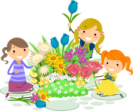 Illustration of Stickman Kid Girls Picking Fresh Flowers in the Garden