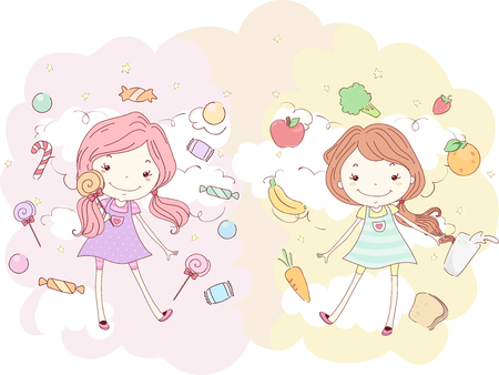 Illustration of a Girl Surrounded by Sweets in Pink and another Girl Surrounded by Healthy Foods in Orange Stock Photo