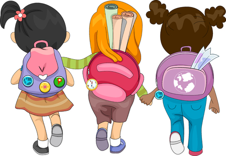 Illustration of Kid Girls Going to School Carrying Bags with Geography Items like Maps and Compass Buttons