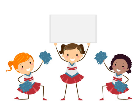 Illustration of Stickman Kids in Cheerleading Uniforms Presenting a Blank Board