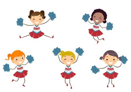 Illustration of Stickman Kids in Cheerleader Uniforms in Different Poses Stock Photo