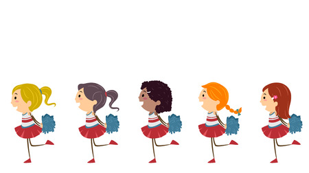 Illustration of Stickman Kids in Cheerleading Uniforms Performing with Pompoms Stock Photo