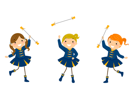 Illustration of Stickman Kids in Majorette Uniform performing their Routine