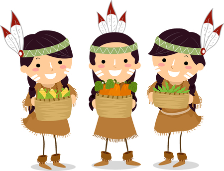 Illustration of Indian Kids Holding Three Sister Crops of Corn, Squash and Beans