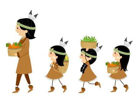 Ilustración de Stickman mamá nativa americana y los niños caminando mientras mantiene sus cosechas de calabaza, maíz y frijoles Foto de archivo - 82100808