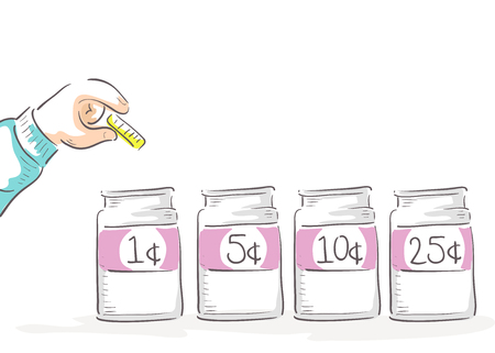 Illustration of a Hand of a Kid Learning and Sorting Coins into Separate Jars Stock Photo