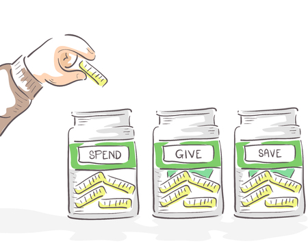 Illustration of a Hand of Kid Placing a Coin in Either his Spend, Give and Save Jars Stock Photo