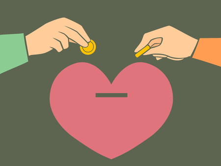 Illustration of a Heart Money Bank with Hands of a Couple Saving Money