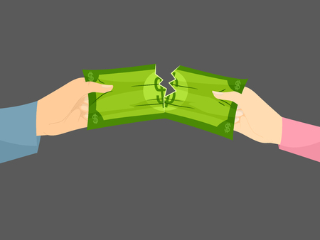Illustration of Hands of a Couple Tearing Money, Concept of Money Problem