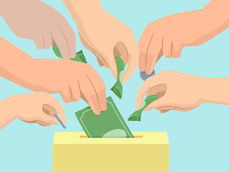 Illustration of Hands of Several People Placing Money in the Donation Box Stock Photo